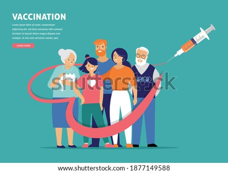 Family Vaccination concept design. Time to vaccinate banner - syringe with vaccine for COVID-19, flu or influenza and a family Royalty-Free Stock Photo #1877149588