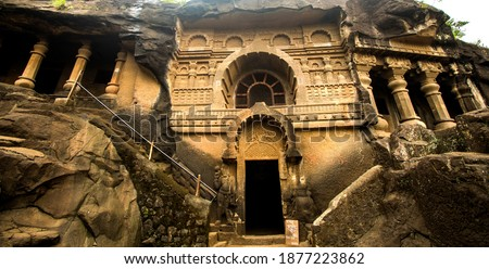 Pandav Leni, The Buddha Caves at Nashik, Maharashtra, India. Ancient caves dating second century A.D. This group of 24 caves located near Nashik. These caves were carved during the reign of Satavahana Royalty-Free Stock Photo #1877223862