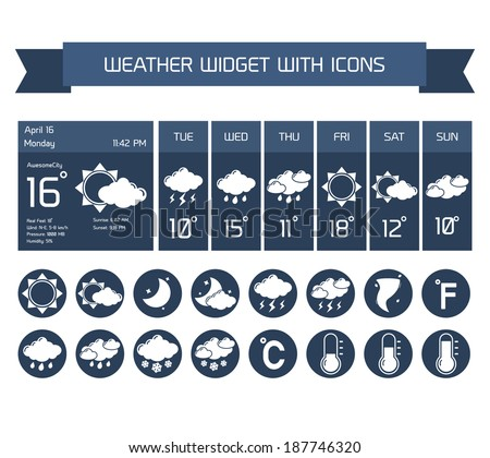 Weather detailed forecast computer and mobile business widgets with vertical dark icons collection on white isolated vector illustration #187746320