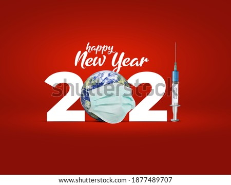 2021 new year. Vaccine for COVID-19 in 2021 is closer to reality. COVID-19 Vaccine. vaccine against coronavirus disease 2019 will be available on 2021. 2021-new year with corona virus vaccine concept. #1877489707
