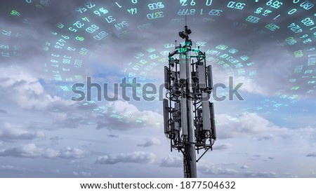 telecommunication tower transmitting digits signals of cellular mobile 5g 4g 3g. Simulated radio waves Royalty-Free Stock Photo #1877504632