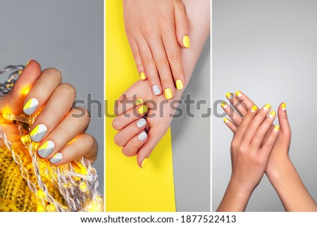 Perfect minimalistic manicure with geometry in trendy colors of year 2021. Moodboard with different nail design