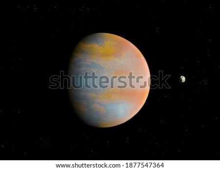 planet with atmosphere and solid surface in space with stars, realistic surface of alien planet. Royalty-Free Stock Photo #1877547364