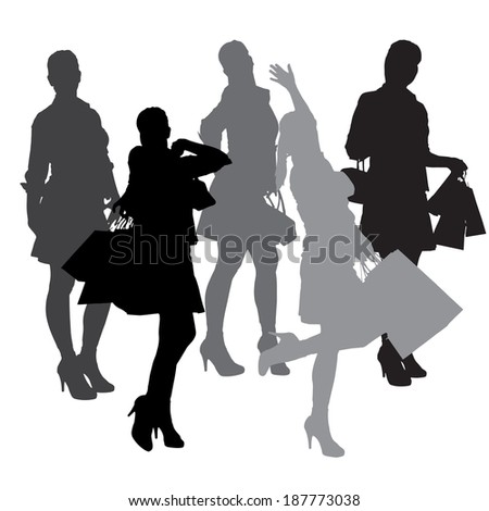 Vector silhouette of a woman with shopping bags. #187773038