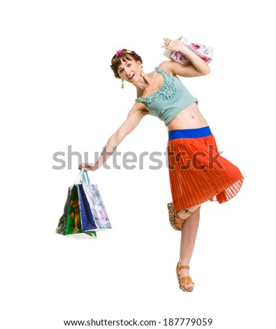 picture of lovely woman with shopping bags Isolated over white. #187779059