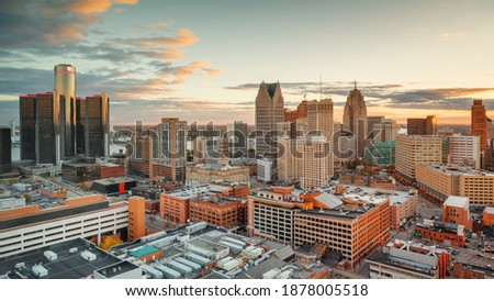 Detroit, Michigan, USA downtown skyline from above at dusk. Royalty-Free Stock Photo #1878005518