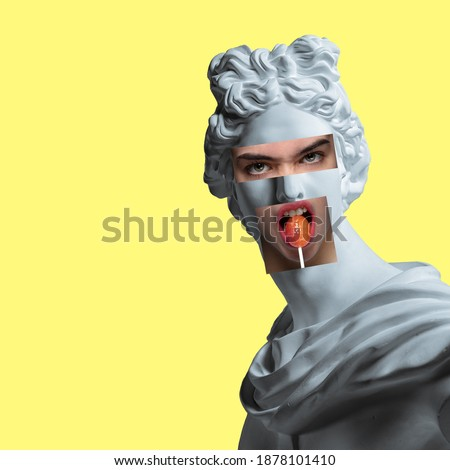 Collage with plaster head model, statue and female portrait isolated on yellow background. Negative space to insert your text. Modern design. Contemporary colorful and conceptual bright art collage. Royalty-Free Stock Photo #1878101410
