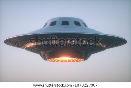 Unidentified Flying Object UFO. Clipping path included. 3D illustration.