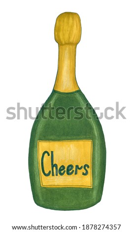 Bottle of champagne sketch. Hand drawn marker sketch of green glass bottle with champagne. Holiday decor. Hand drawn clip art for sticker, Christmas decor, textile, greeting cards.