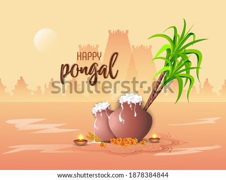 Happy Pongal Celebration Concept. Pongal Celebration. Pongali Rice In Mud Pot, With Oil Lamp. #1878384844