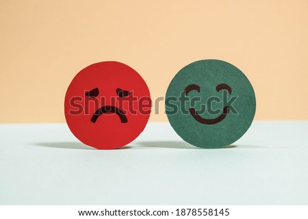 Emotions: positive, neutral and negative (red, yellow and green different moods). Rating smile for customer opinion. Paper cut. Mental health assessment, feedback rating and review concept. Royalty-Free Stock Photo #1878558145