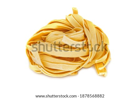 Thick Noodles, close up of asian food on white background Royalty-Free Stock Photo #1878568882