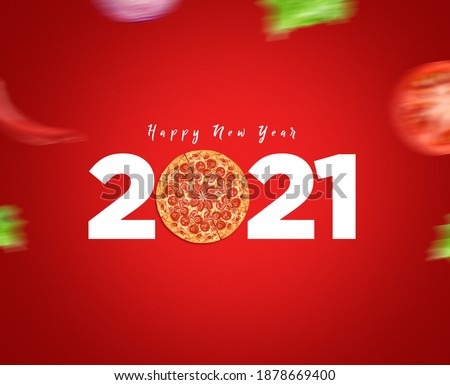 Happy New Year 2021 concept for restaurant or pizza brand isolated on gorgeous red background. Pizza new year concept. #1878669400