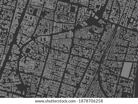 Dark Grey High Density Urban Settlement Map at Semanggi Sub District, Pasar Kliwon District, City of Surakarta, Central Java, Indonesia Royalty-Free Stock Photo #1878706258