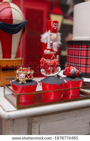 toyshop theme birthday party red and black  Royalty-Free Stock Photo #1878776485