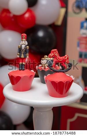 toyshop theme birthday party red and black  Royalty-Free Stock Photo #1878776488