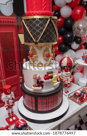 toyshop theme birthday party red and black  Royalty-Free Stock Photo #1878776497