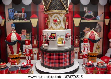 toyshop theme birthday party red and black  Royalty-Free Stock Photo #1878776515
