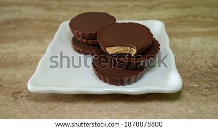 Homemade sugar free peanut butter chocolate cups.
