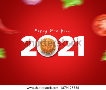 Happy New Year 2021 concept for restaurant or burger brand isolated on gorgeous red background. Burger new year concept. #1879178536