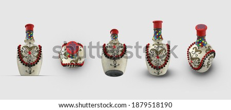 Voodoo Magic Spirit Potion Skull bottle vodka composition isolated white background 3d illustration angle top side perspective view realistic render set clipping mask