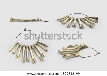old dirty animal Bone Necklace Pendant Voodoo Magic occultism Witchery tool isolated white background 3d illustration angle top side perspective view realistic render set clipping mask