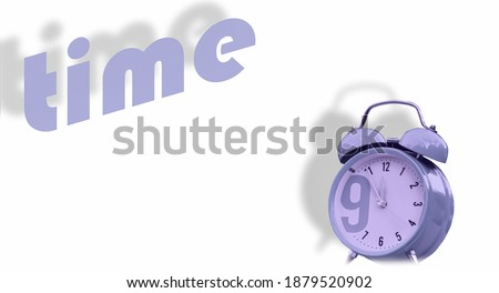 Alarm clock and Time text on white background.