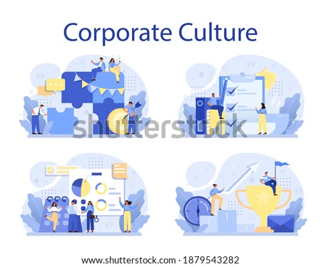 Corporate culture concept set. Corporate relations. Business ethics. Corporate regulations compliance. Company policy and business course. Isolated flat vector illustration Royalty-Free Stock Photo #1879543282