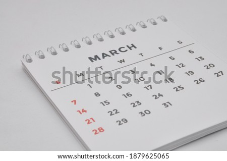March month calendar on white background