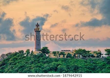 Aerial view of Dai Lanh Lighthouse, Phu Yen. This place is considered the first place to receive sunshine on the mainland of Vietnam Royalty-Free Stock Photo #1879642915