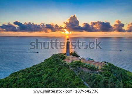 Aerial view of Dai Lanh Lighthouse, Phu Yen. This place is considered the first place to receive sunshine on the mainland of Vietnam Royalty-Free Stock Photo #1879642936