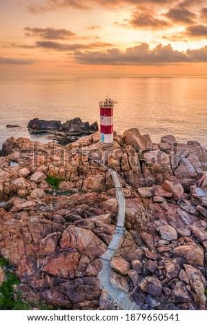 Ganh Den Lighthouse, Phu Yen. This is a famous tourist destination of Vietnam Royalty-Free Stock Photo #1879650541