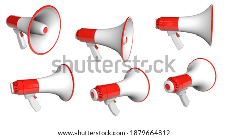 Set Red Megaphone loudspeaker. isolated on white background with clipping path. 3d render.