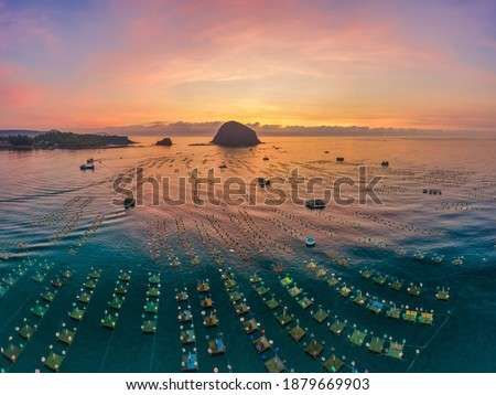 Aerial view of  shrimp ( prawn ) farm and lobster in front of Yen island, Phu Yen, Vietnam. Royalty-Free Stock Photo #1879669903