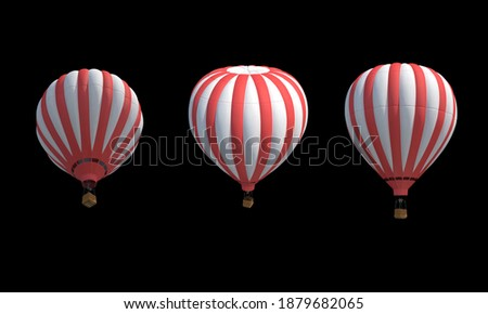 set Red white lines hot air balloon colourful ballons collection. isolated black background 3d illustration different angles top side perspective view realistic render clipping mask