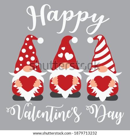 Happy Valentine's day vector design, Valentine's day gnomes cut file