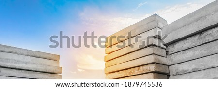 Concrete blocks at a construction site. Concrete structures, industrial, building materials, high resolution Royalty-Free Stock Photo #1879745536