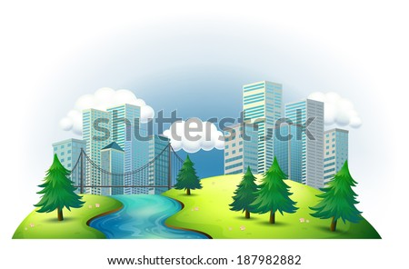 Illustration of the tall buildings in an island with a river and pine trees on a white background