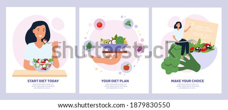 Vegetarian concept with healthy fresh diet showing a woman eating salad, bowl of greens and making a choice. Set of vector illustrations Royalty-Free Stock Photo #1879830550