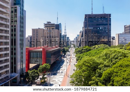 Paulista avenue, financial center of Sao Paulo and Brazil and MASP seen from above with its commercial buildings and intense movement of people and cars Royalty-Free Stock Photo #1879884721