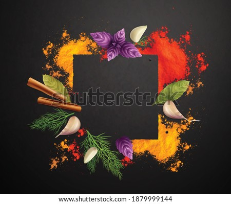 Spices and herbs realistic frame decorated by cinnamon roll bay leaves branches of basil and dill on black background vector illustration Royalty-Free Stock Photo #1879999144