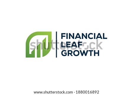 financial growth leaves logo design vector  Royalty-Free Stock Photo #1880016892