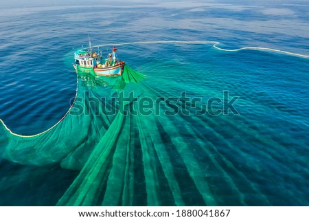 Ships and fishermen are fishing anchovies in Yen Island, Phu Yen, Vietnam Royalty-Free Stock Photo #1880041867