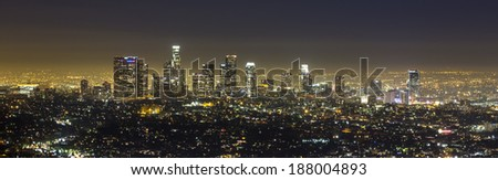 View of Downtown Los Angeles from the Hollywood Hills.