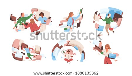 People interacting to workflow operations at cyber space vector flat illustration. Man and woman in workforce process optimization. Concept of management, productivity, multitasking and flow control Royalty-Free Stock Photo #1880135362