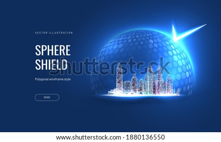 A futuristic digital city under protection. Cyber security concept as a hologram of a cityscape under a power dome. Vector illustration Royalty-Free Stock Photo #1880136550