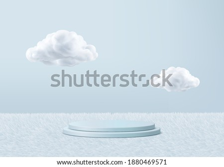 3d background products minimal podium scene with sky cloud platform. cloud background vector 3d render with podium. stand to cosmetic products. Stage 3d display on pedestal cosmetic stand blue cloud Royalty-Free Stock Photo #1880469571