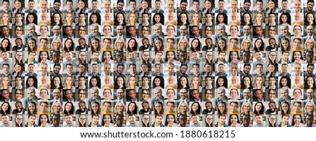 Collage of many multiracial business successful people of different age looking at camera. Business group of smiling successful faces on a screen of computer or laptop Royalty-Free Stock Photo #1880618215