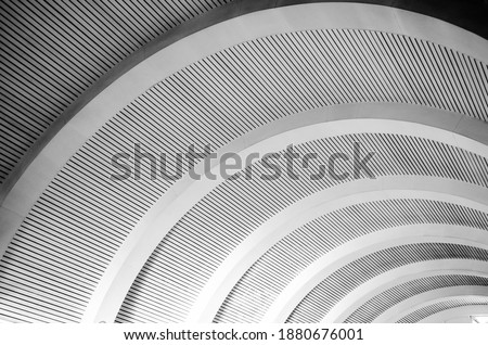Curved roof arqued in black and white Royalty-Free Stock Photo #1880676001