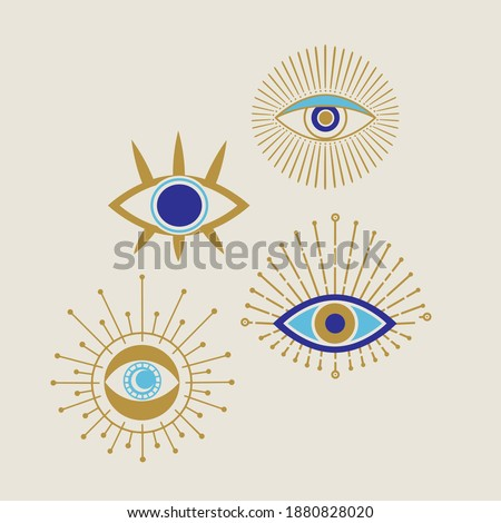 Evil eye golden and blue vector isolated doodle illustration. Magic, witchcraft, occult symbol, clip art line art collection. Hamsa eye, karma, magical eye, decor element.